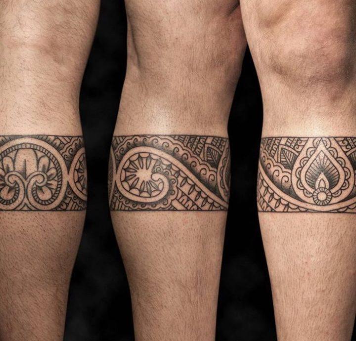 tatuagem maori na canela